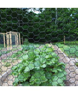 "36"" High, 1"" Hex Mesh Fence, Black Vinyl Coated, 150' Roll (Woven Wire)"